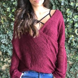 New ✨Burgundy Wrap Sweater